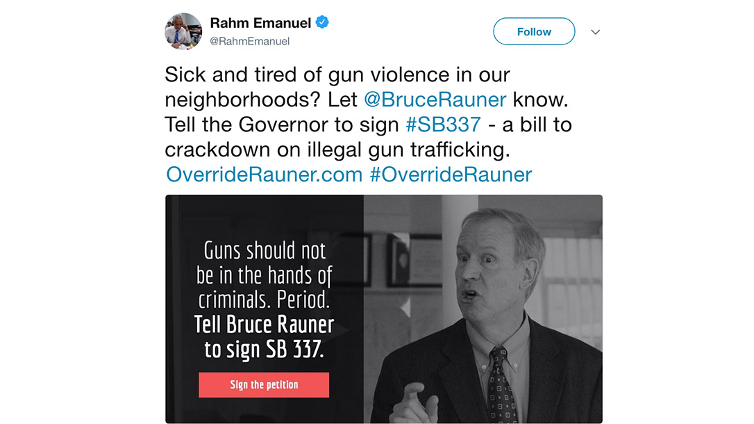 Chicago Mayor Rahm Emanuel Gun Tweet