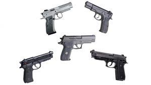 9mm metal handguns, Beretta, CZ, EAA, Sig, Taurus
