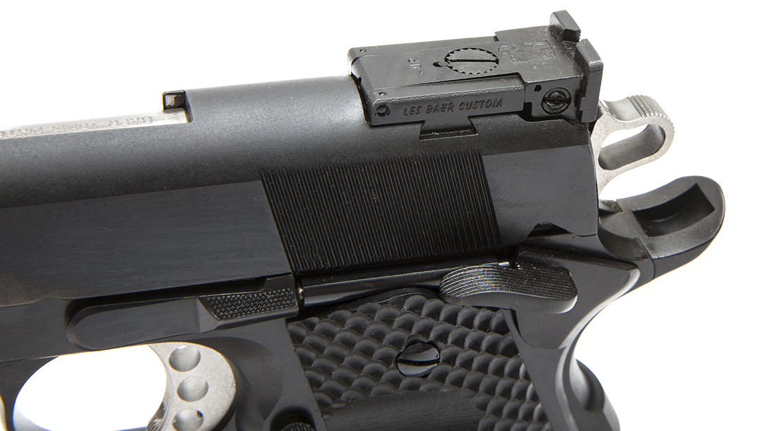 The Les Baer Premier II Hunter pistol, 10mm handgun, rear sight