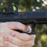 Walther PPQ Q4 TAC Pistol aiming, trijicon rmr