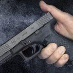 Glock 45 pistol, G45 pistol first Slickguns Review, hand