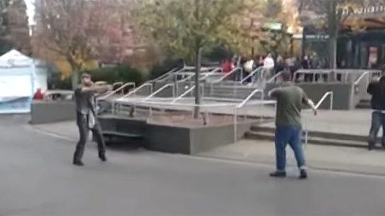 Armed Bystander Stops Stabbing Suspect