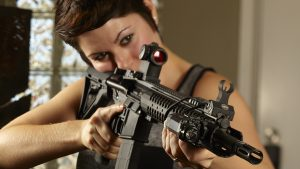 AR-15, girl with AR-15