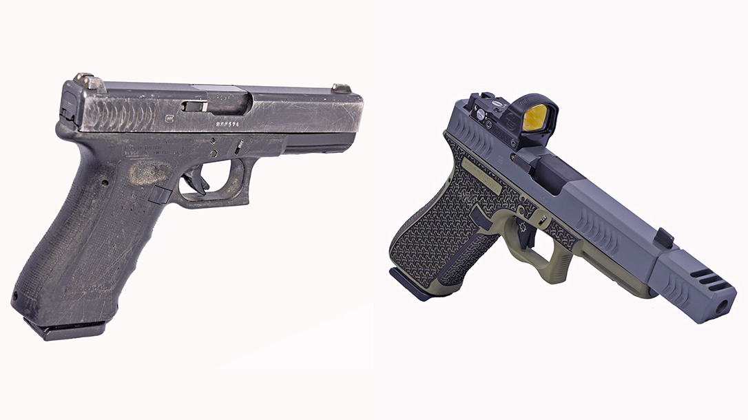 Glock 22 9mm conversion, Glock 22 RTF2 pistol, comparison
