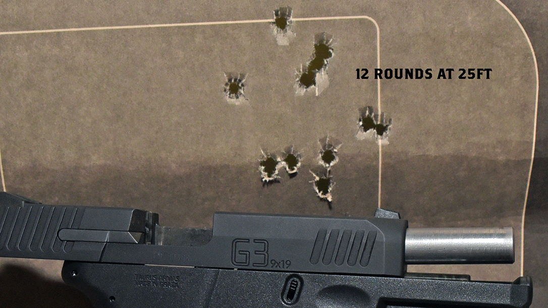 full-size pistol, 9mm pistol test, holes