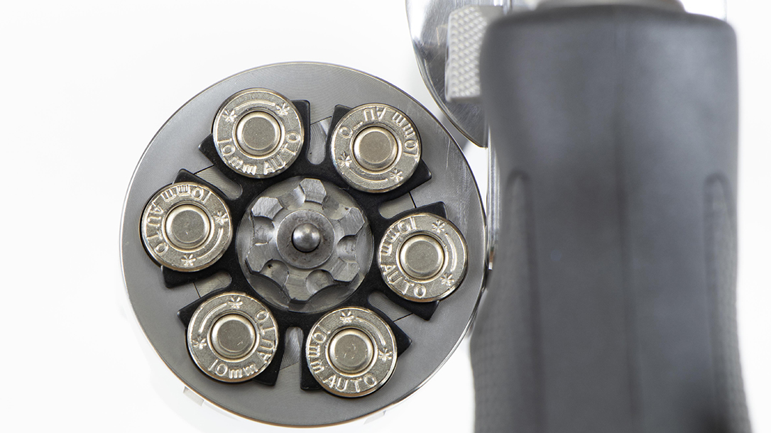 Six rounds of 10mm Auto brings the firepower.