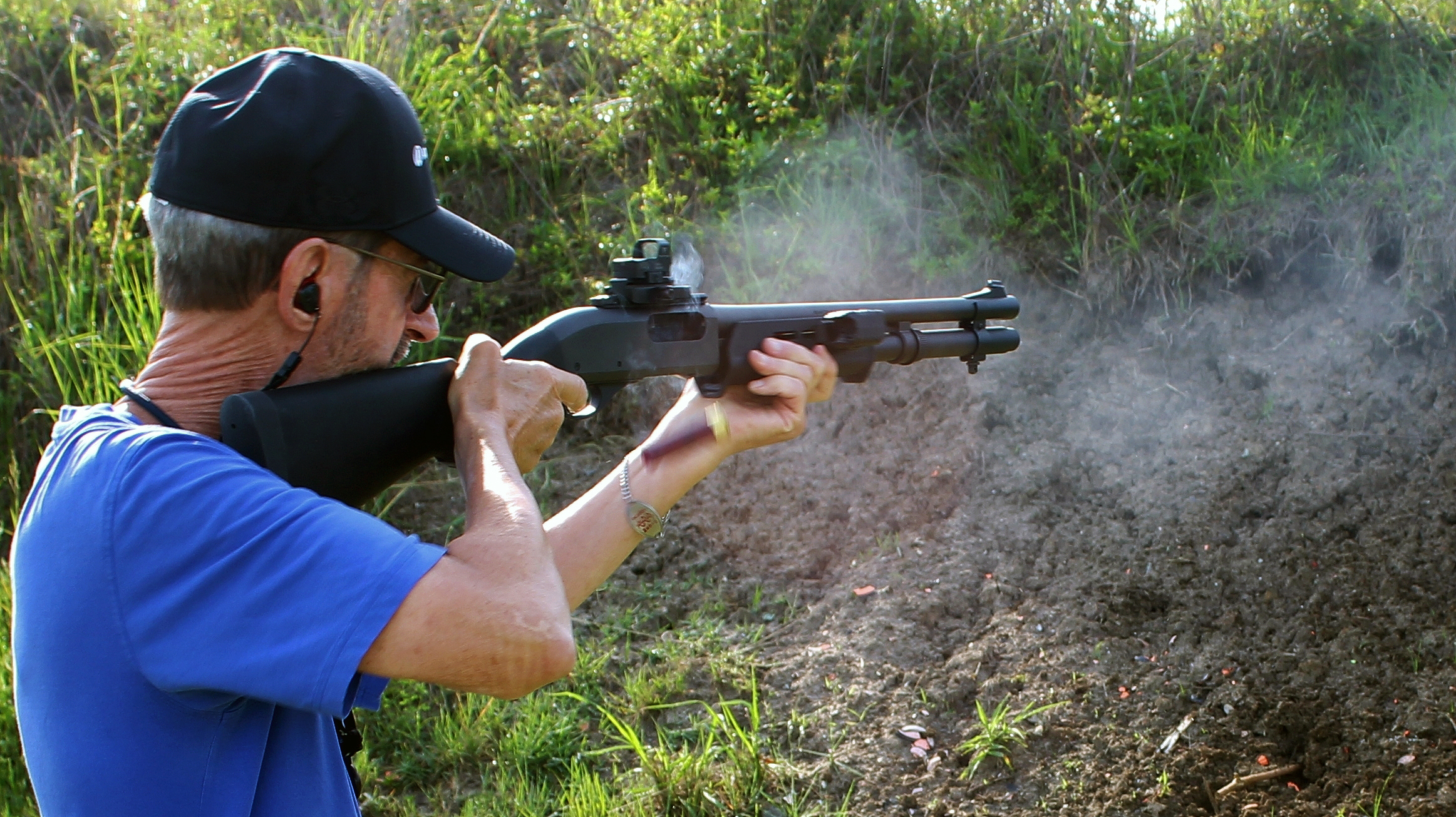 Testing various 12 gauge buckshot loads on the range.