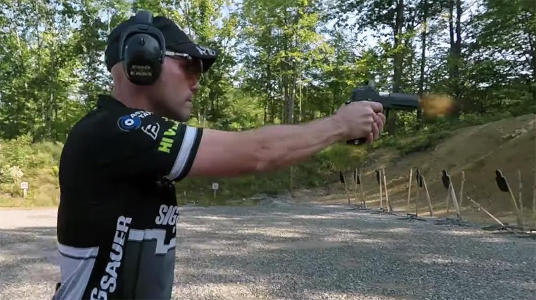 SIG Sauer's Max Michel demonstrates a short burst movement drill.