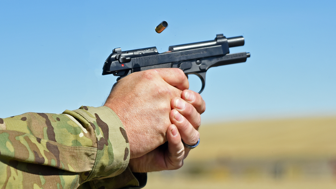 Engaging steel targets with the Beretta 92X Compact.