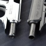 While the .22 LR utilizes a sleeved barrel threaded for a muzzle device, the .380 is standard.