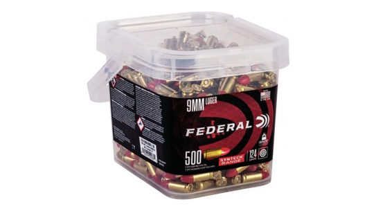 Federal Syntech Bulk Buckets offer 250-500 rounds of ammo.