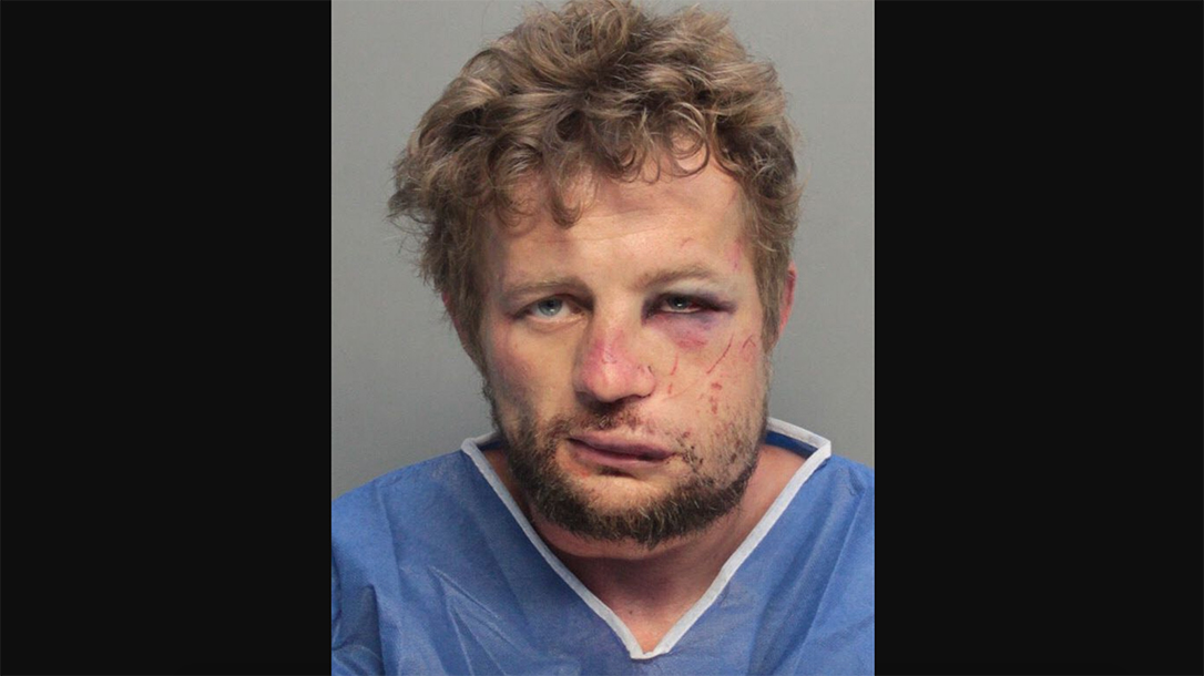 A Florida man unleashed savage beating on intruder.