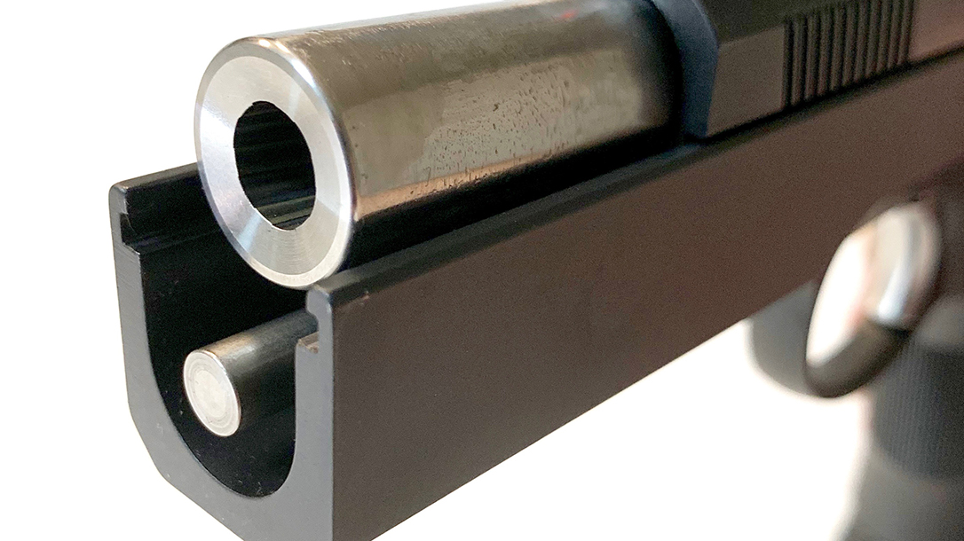 The pistol features a match-grade bull barrel in stainless steel.