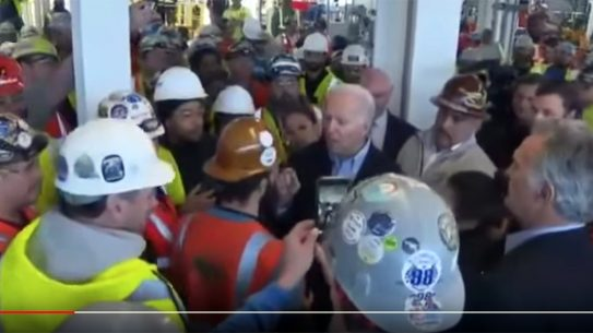 Presidential candidate Joe Biden lost his temper when an auto worker called him out on gun control.