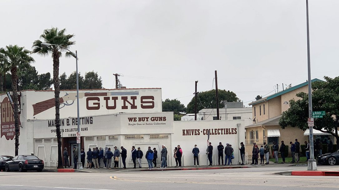 coronavirus panic buying, Gun store lines are growing across the country.