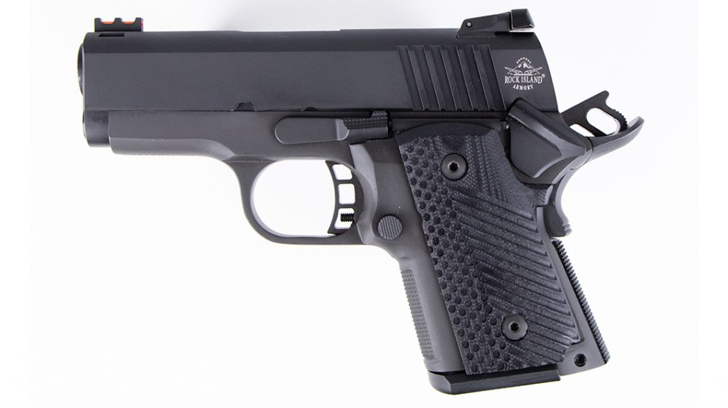 The 1911 design features a wide body, filling the shooter's hand.