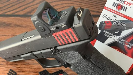 Able to fit multiple pistols and accommodate popular red dot optics, the new ArachniGRIP R.D.O.S Slide Spider adds better grip to carry optics users.