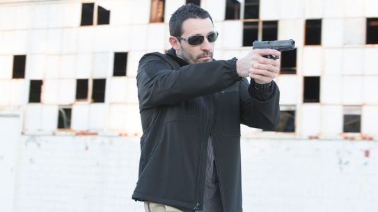 Concealed Carry Clothing, The Propper softshell jacket provides quick access.