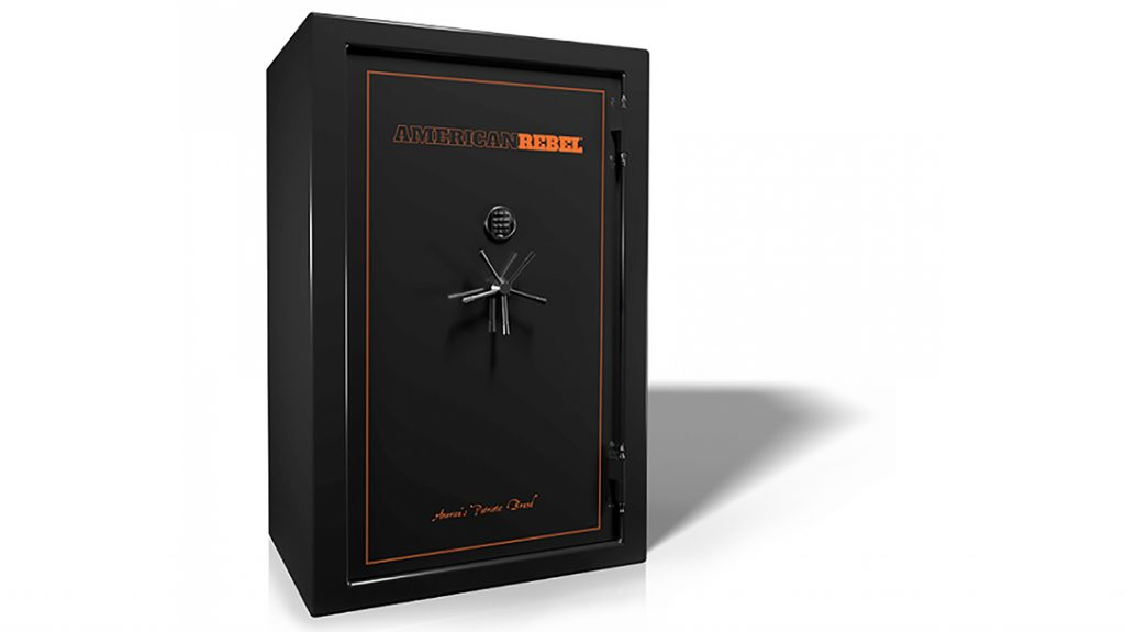 The American Rebel Black Smoke AR-40 Gun Safe features pressure-formed, American-made steel and a 12-gauge body.