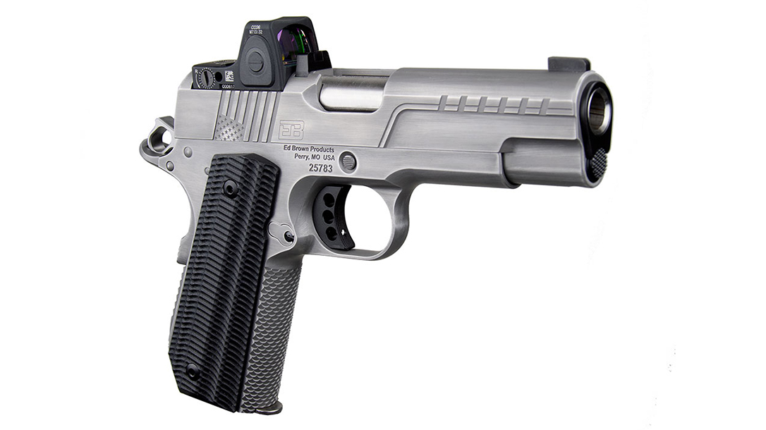 The Ed Brown FX2 comes topped with the new Trijicon RMRcc.