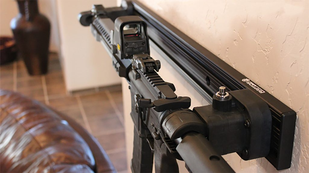 Raptor Gun Mounts enable gun owners to display or keep tactical arms at the ready.