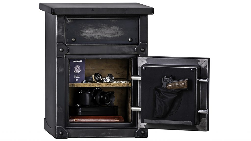 The Rhino Metals LNS2618 performs as both a traditional nightstand and locking safe.
