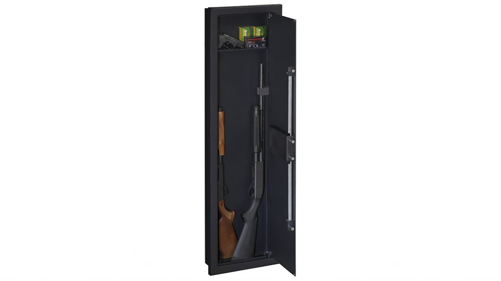 The Stack-On In-Wall safe measures 55 inches tall and utilizes the standard 16-inch space between wall studs.
