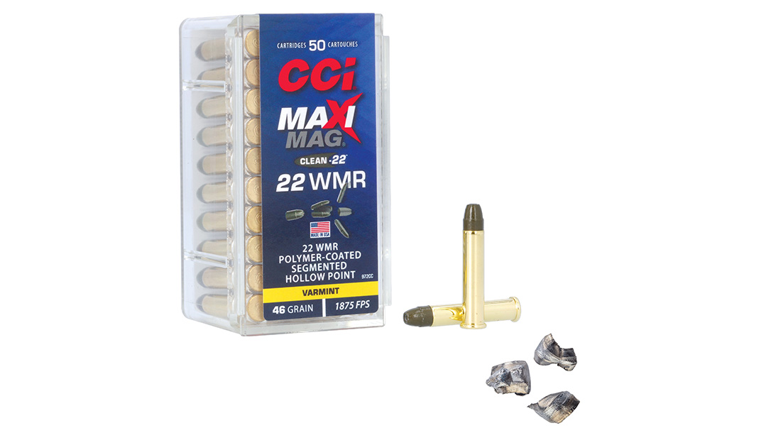 The 46-grain CCI Maxi-Mag Clean-22 in 22 WMR reduces fouling via a polymer coating and segments into three distinct wound channels during penetration.