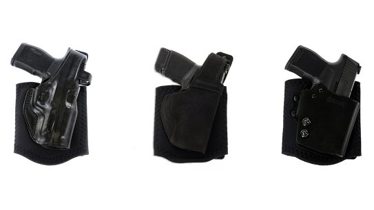 For both primary and backup guns, Galco ankle holsters provide options.