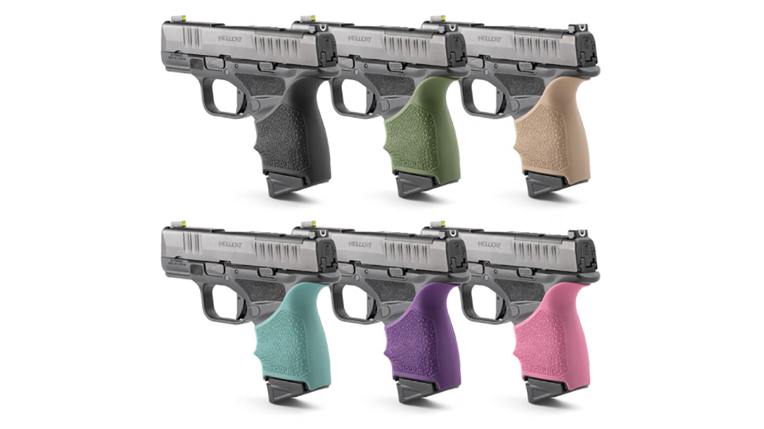 The Hogue HandALL grip sleeve adds comfort and control to the Springfield Hellcat pistol.