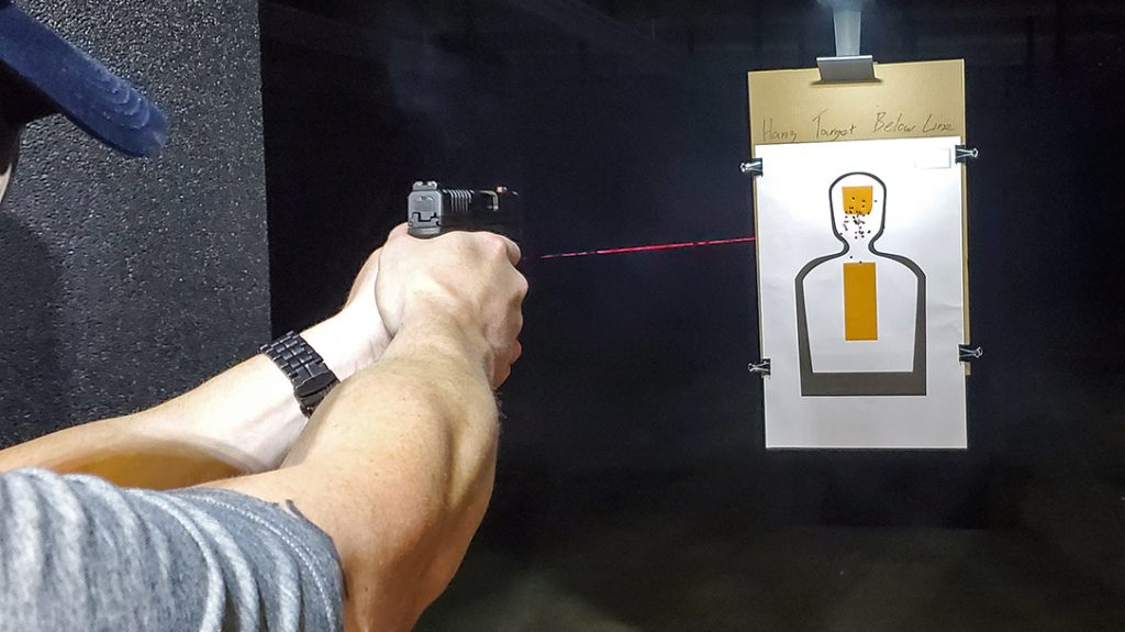 A laser provides a visual, quickly acquired aiming point on the target.