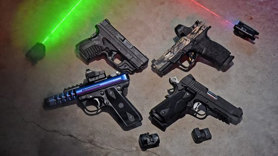 Red dot and lasers provide solid choices for getting on target quickly.