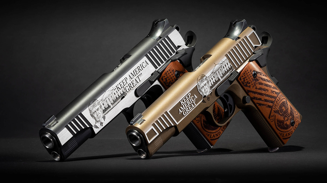 The 2020 Auto-Ordnance Trump 1911s feature detailed engravings.