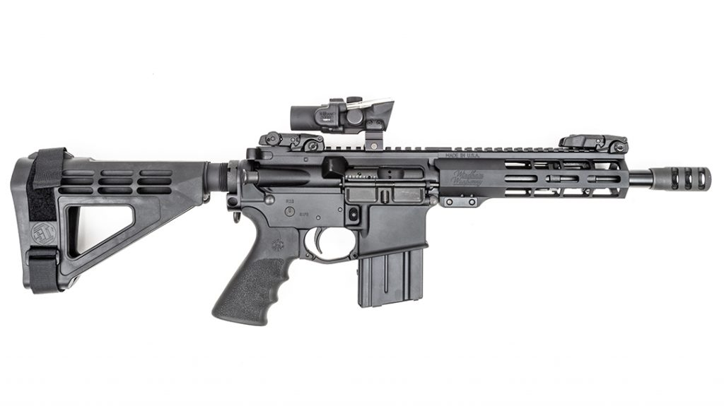 The AR-style pistol includes an SB Tactical stabilizing brace.