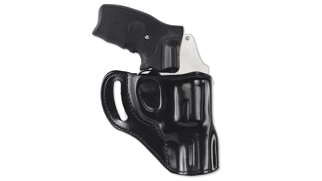 The Galco Hornet accommodates both crossdraw and appendix carry from the belt.