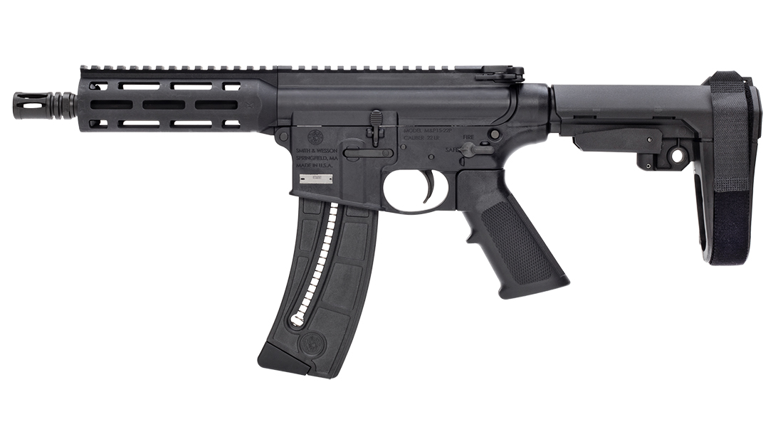 The M&P15-22 features an SB Tactical SBA3 adjustable pistol brace.