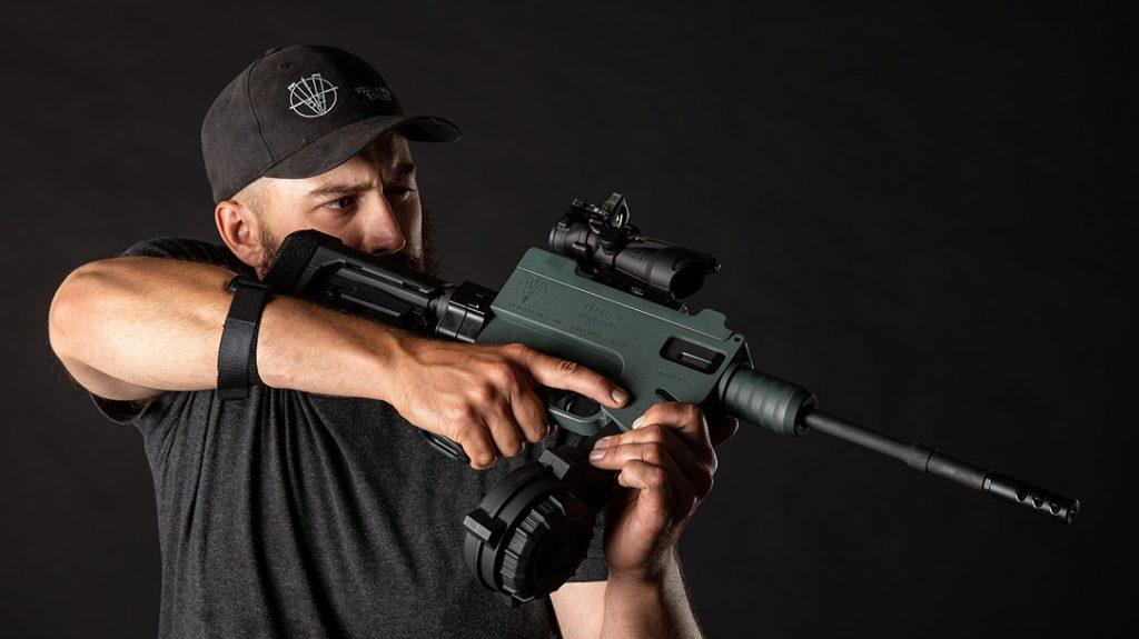 The Vigilance M20 9mm SMG features a quick-change barrel.