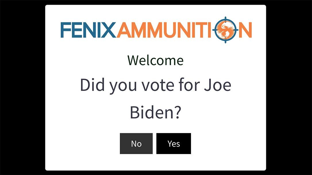 Fenix Ammunition sends Joe Biden voters away.