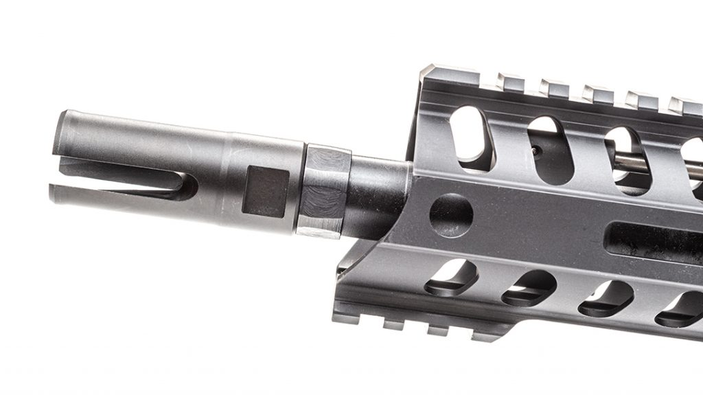 The muzzle of the barrel is threaded at 1/2x28 and is outfitted with POF-USA's effective three-prong flash suppressor.