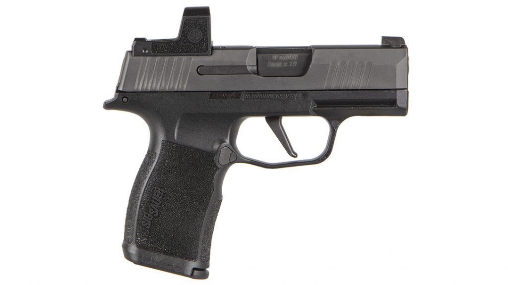 The P365X ROMEOZero, a 9mm striker-fired pistol, sports an integrated carry magwell and extended beavertail via the P365 grip module
