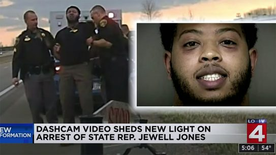 Michigan Rep. Jewell Jones threatens officers during arrest.