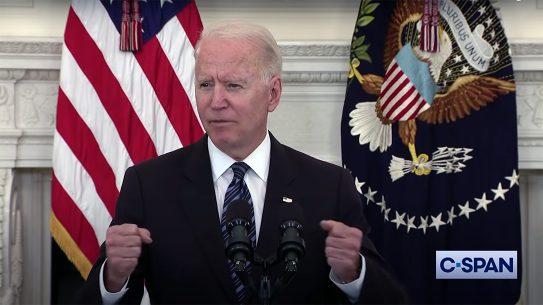 President Biden blamed gun violence for rising crime rates.