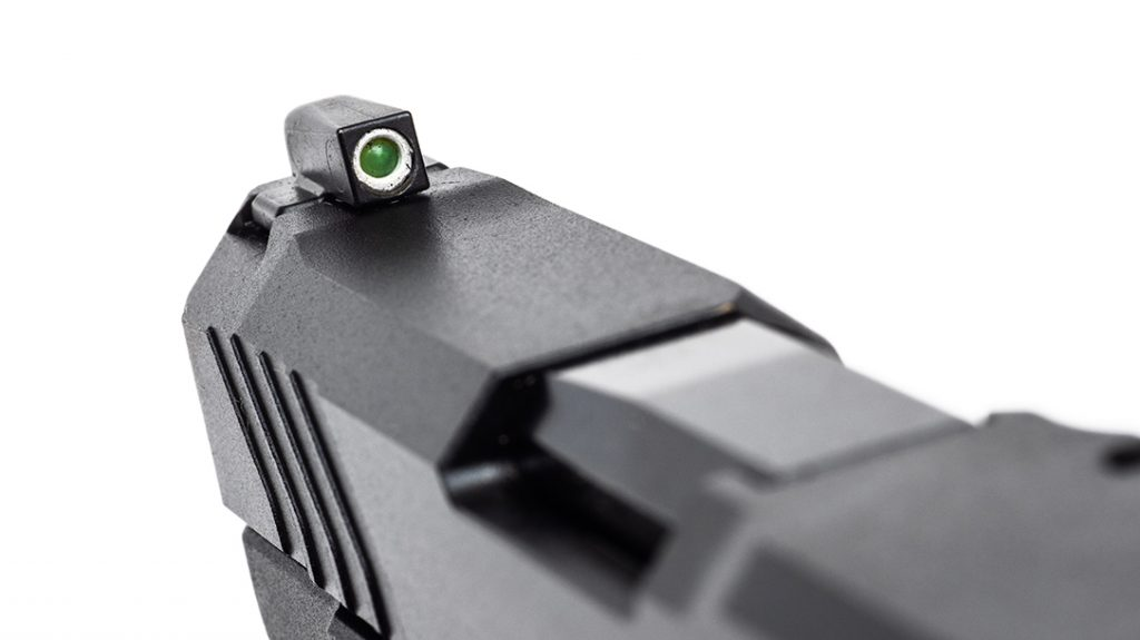 Another nice upgrade is a tritium front sight with a white outline for easy visibility.