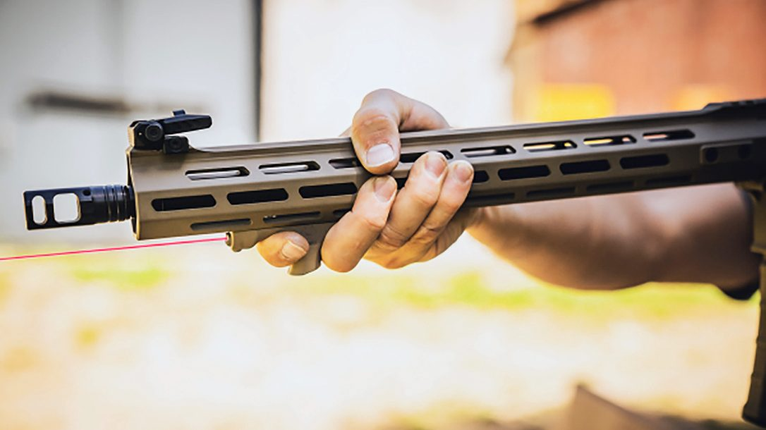 The Viridian HS1 hand stop features a laser-aiming device.