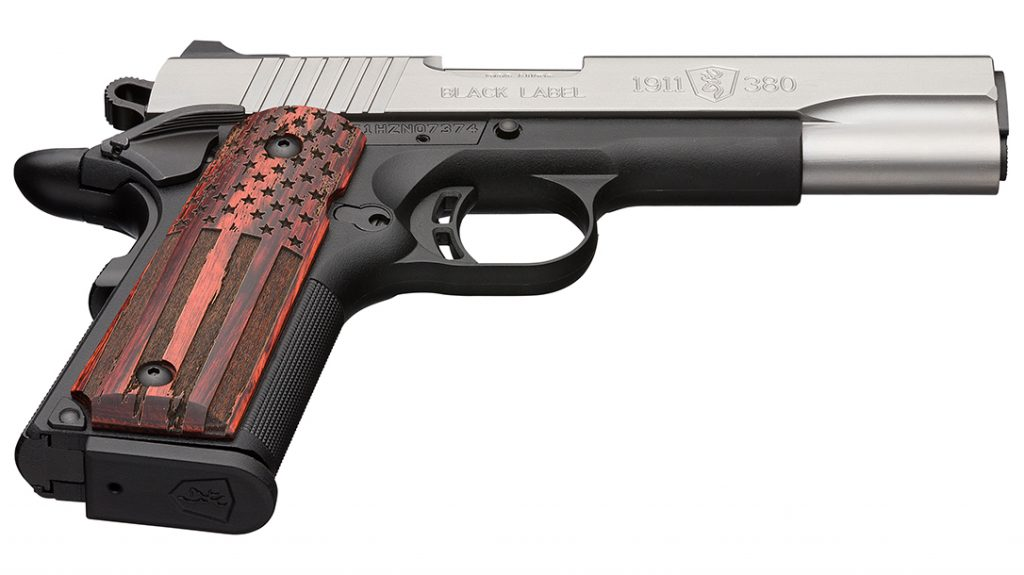 Chambered in .380, the Black Label Pro American Flag is ready to carry.