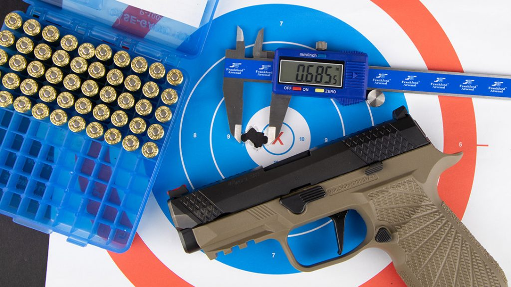 Wilson Combat and Sig Sauer combine for incredible accuracy; one ragged hole groups were achievable with the WCP320 EDC pistol without the need for a bench.