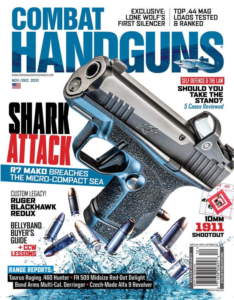 The Nov/Dec issue of Combat Handguns features the all-new Kimber R7 Mako.