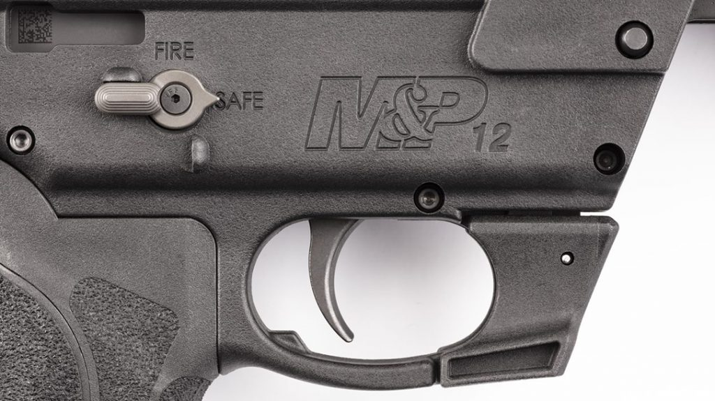 The S&W M&P12 utilizes fully-ambidextrous AR-15-style controls.
