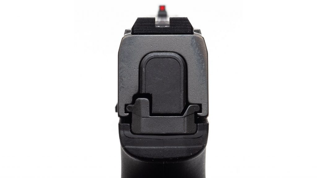 The slide includes a blacked-out and serrated rear sight that stays in place even with an optic installed.