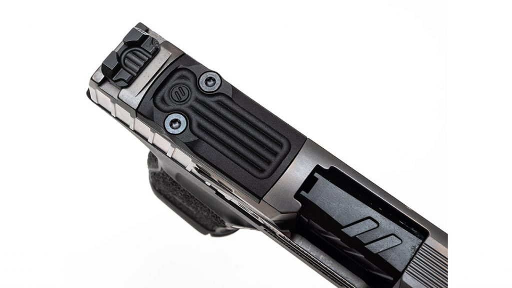 An optics-ready slide cut will accept Shield RMS sights, Sig's Romeo Zero or the Holosun HS407K.